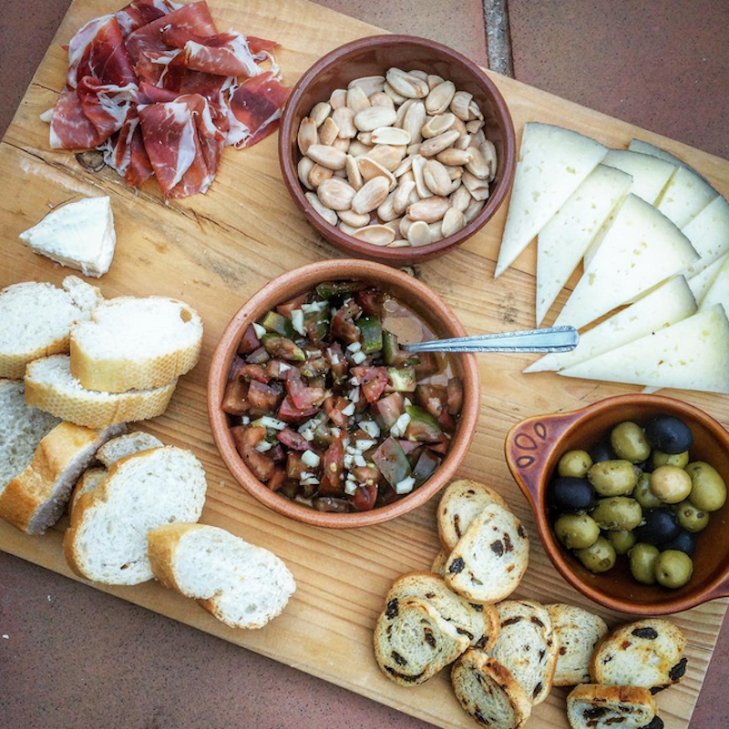 tapas spread at the villa